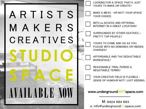 ARTspace studio avail. feb '17
